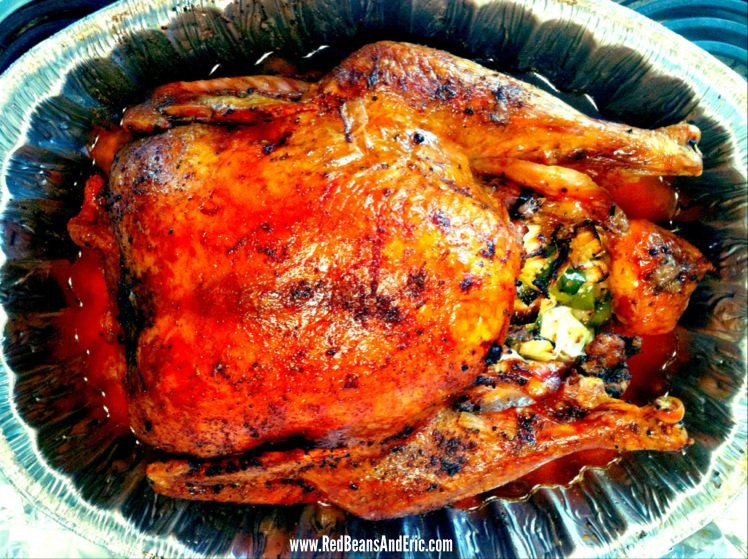 The Creole Roasted Turkey in the roasting pan