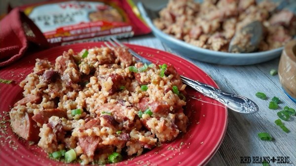 Plate of Vigo Authentic Red Beans & Rice Casserole Recipe from RedBeansAndEric.com